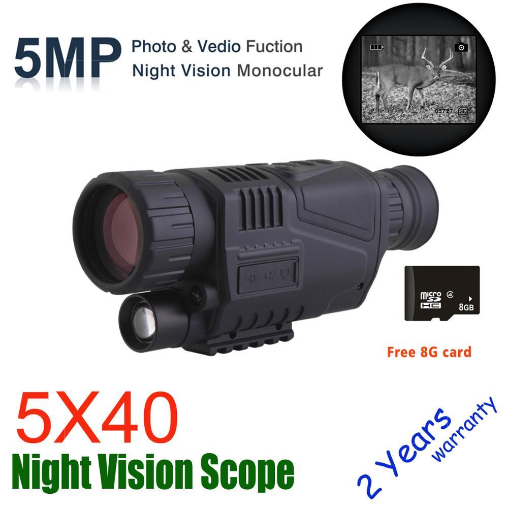 WG540 инфракрасные цифровые Монокуляры ночного видения с 8 г TF карта полный Темный 5X40 200 м Диапазон Охота Монокуляр ночного видения Оптика