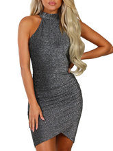 Kenancy Glittering Cut In Shoulder Mini Dress Women Summer Mock Neck Sleeveless Bodycon Dresses Sexy Club Party Dress Vestidos(China)