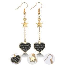 Новый Для женщин Мода золотистые серьги-подвески звезды и навсегда сердце серьги милые романтичные серьги ручной работы комплет