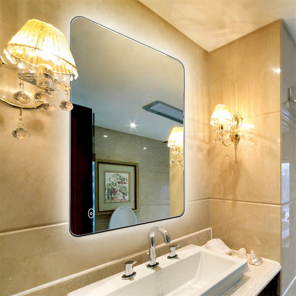 Maquillage LED miroir salle de bain cosmétiques miroir tactile gradateur vanité miroir métal sans cadre mural pour salle de bain miroir HWC