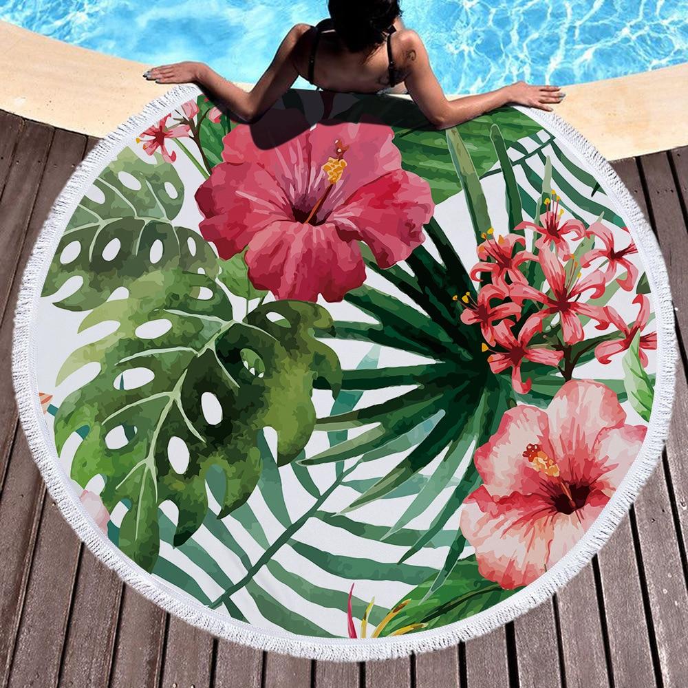 Tropical plants Microfiber Beach Towel for Adult Yoga Mat Tassel Blanket Large Flamingos Round Towel 150cm Tapestry Home 45