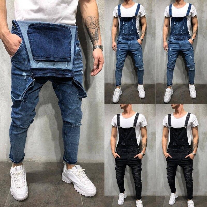 Fashion Men's Ripped Skinny Jeans Destroyed Frayed Slim Denim Pant Overalls Zipper