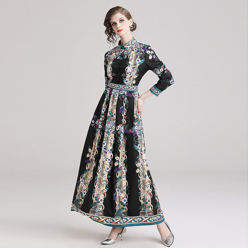 Comelsexy Spring Women Single Breasted Long Sleeve Long Dress Location Print Floral Maxi Dress Vintage Turn Down Collar Vestidos