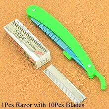 Meisha 1 шт., Мужская бритва с 10 лезвиями, складной нож для бритья, нож для выскабливания бровей, безопасные бритвы для парикмахеров HC0010