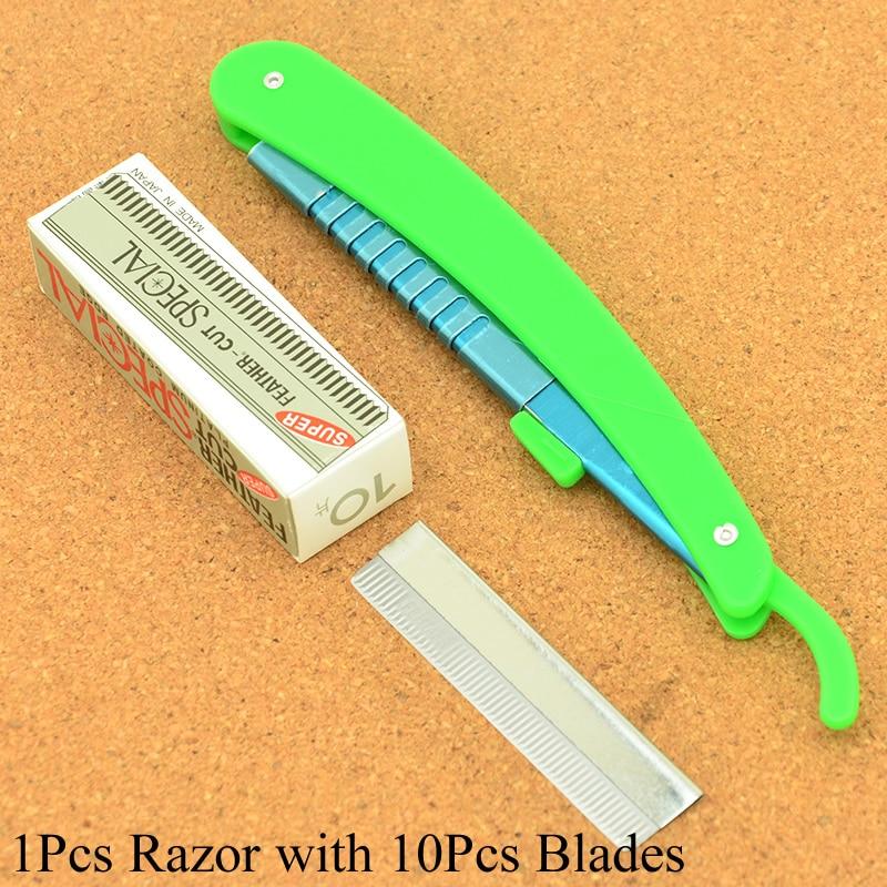 Meisha 1PCS Men's Shaving Razor With 10pcs Blades Folding Shaving Knife Scraping Eyebrow Knife Safty Razors For Barbers HC0010