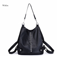 witfox women shoulder bags PU leather rivet British style handbags for ladies work or party