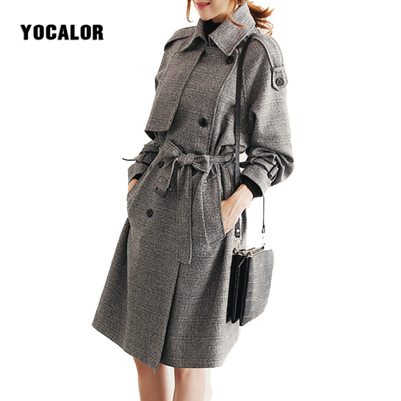 New Spring   Trench   Coat For Women Plaid Windbreaker Woman Slim England Style Double-breasted Autumn Overcoats