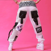 #0112 Summer Hip Hop Pants Women Black/White Mesh Mesh See Through Pants Loose Streetwear Patchwork Big Pockets Joggers Women