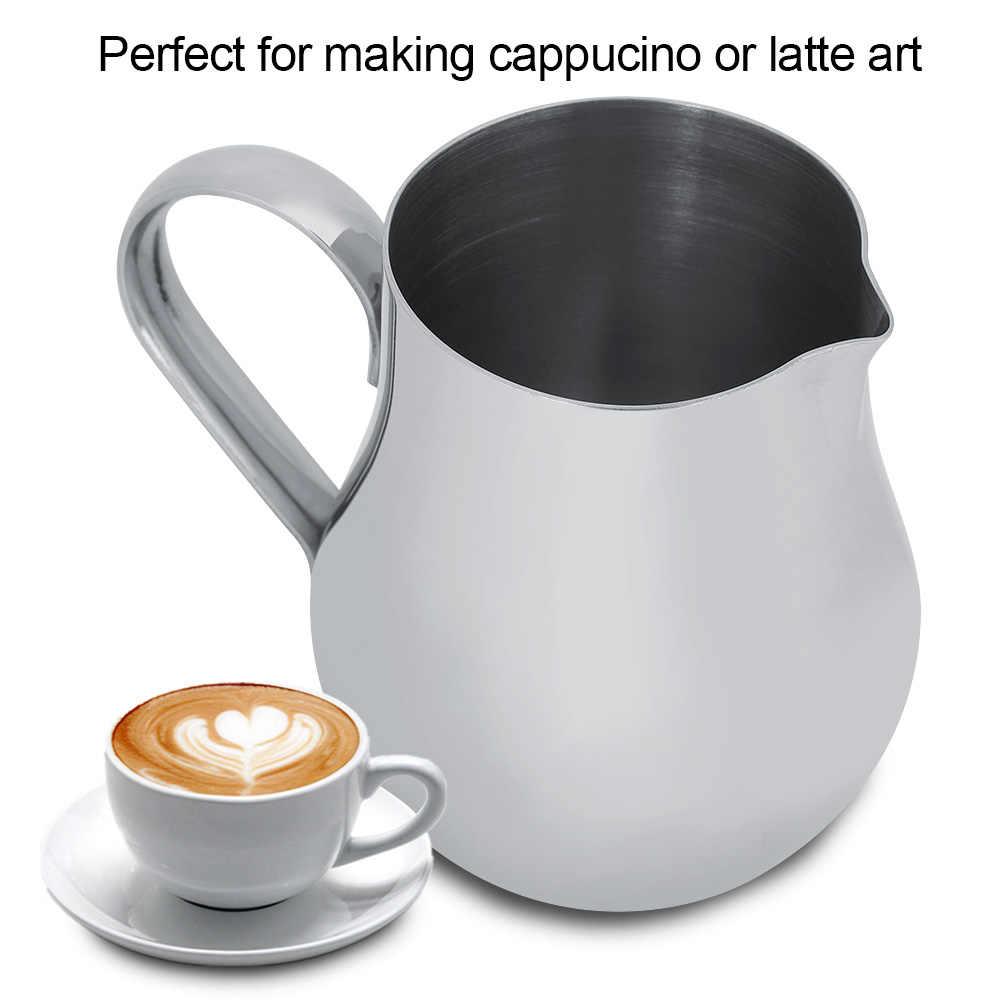 คุณภาพสูงสแตนเลสสตีลนม Frothing เหยือกถ้วยกาแฟการวัดสำหรับ LATTE Art 12 oz/350 ml