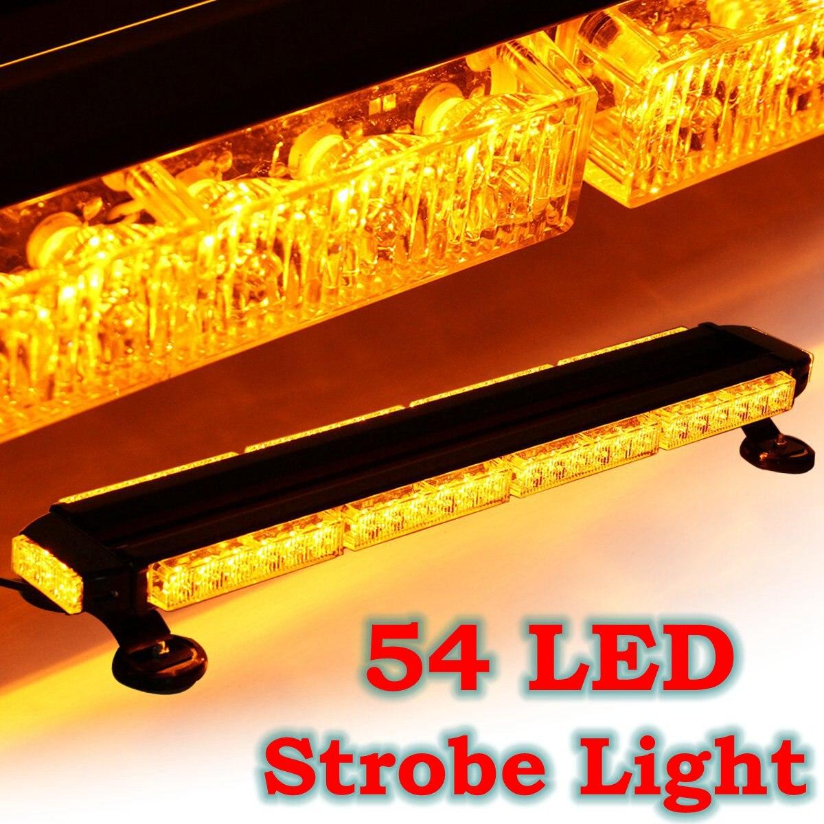 Voiture Stroboscopique D'urgence Flash Lumière 54 LED Ambre Double Côté Conseiller Trafic Barre Lumineuse Sur Le Toit Universel pour Véhicule Avertissement Lumière