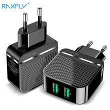 RAXFLY Dual Ports Hard PC Charger For Samsung S8 S9 Travel Fast Charging iPhone X XS Max XR 2.4A USB Universal Phone