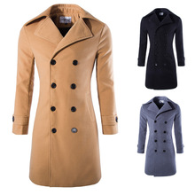Casual Fashion Warm Men Long Wool Blend Coat Slim Long Sleeve Solid Cashmere Jacket Double Breasted