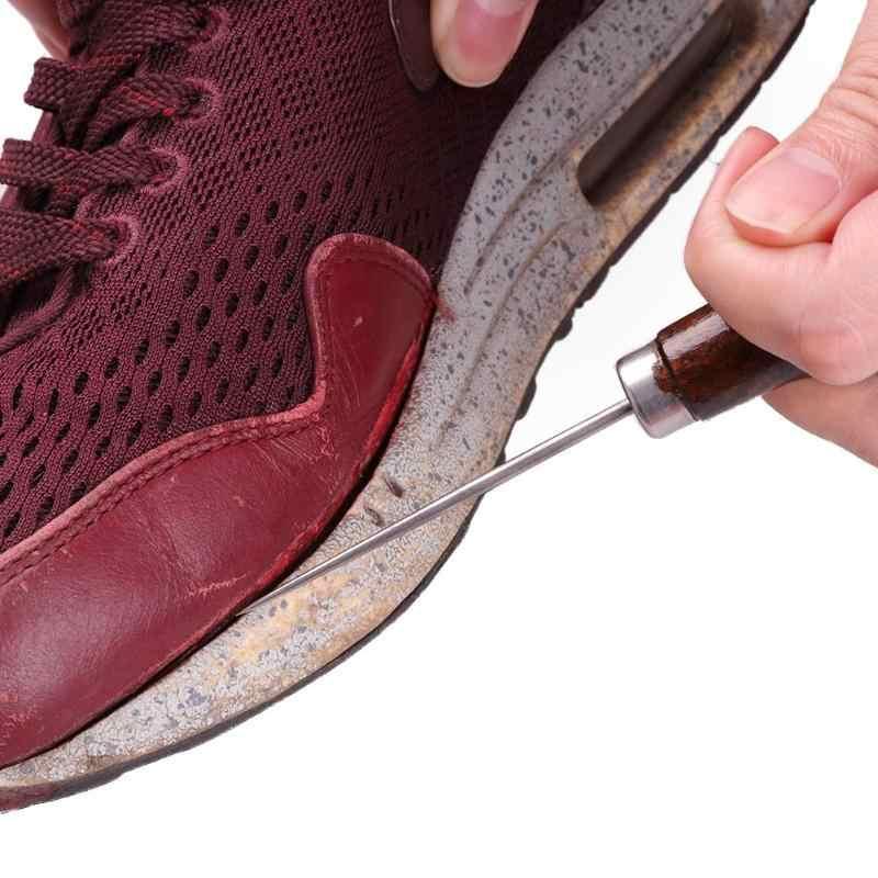 1/2/5/10pcs Maniglia di Legno Foro Forare Creatore Punteruolo Spille Cucito A Mano Cucitura Artigianale In Pelle scarpe di Riparazione Ago Strumenti di Forniture