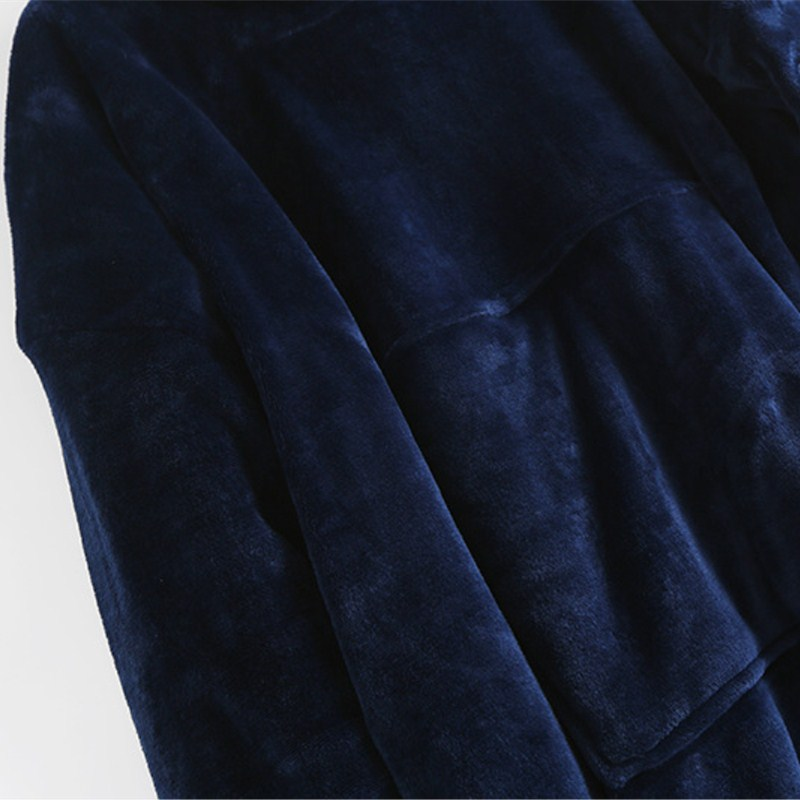 Women Thick Velvet Liner Warm Sleep Tops Casual Hooded Lounge Wear Solid Autumn Winter One Size Long Underwear