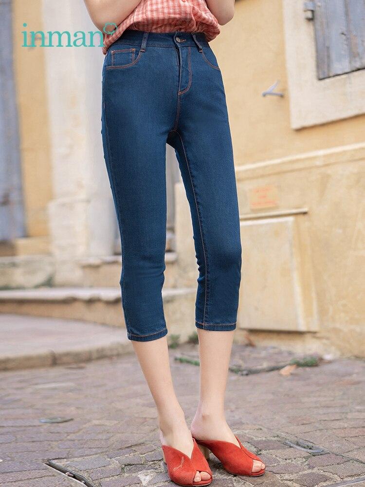 INMAN Summer Medium High Waist Retro Hongkong Style Casual Fashion Slim Three Quarter Women Jeans