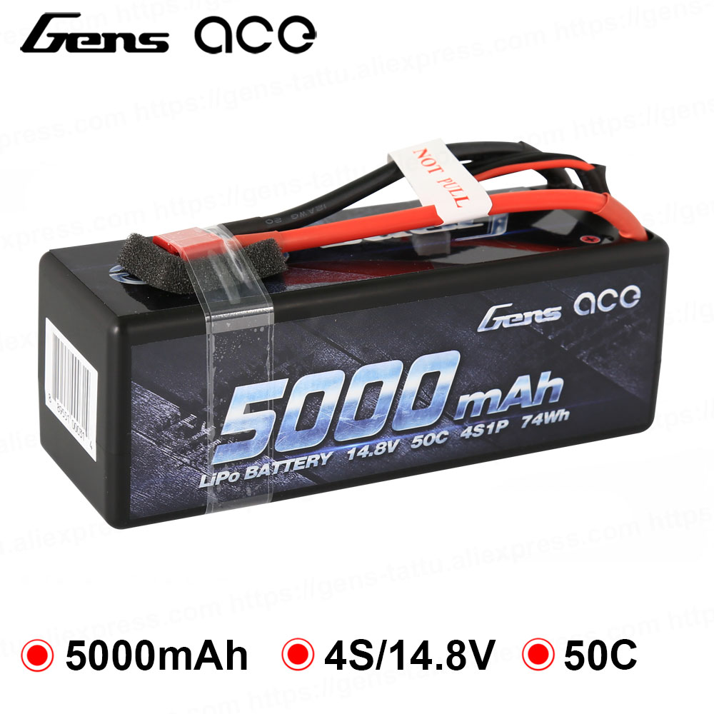Gens ace 5000mAh 4S Lipo Hardcase Battery 50C with Deans Connecotr Power for Traxxas 1/8 1/10 Car Buggy Truggy Free shippingGens ace 5000mAh 4S Lipo Hardcase Battery 50C with Deans Connecotr Power for Traxxas 1/8 1/10 Car Buggy Truggy Free shipping