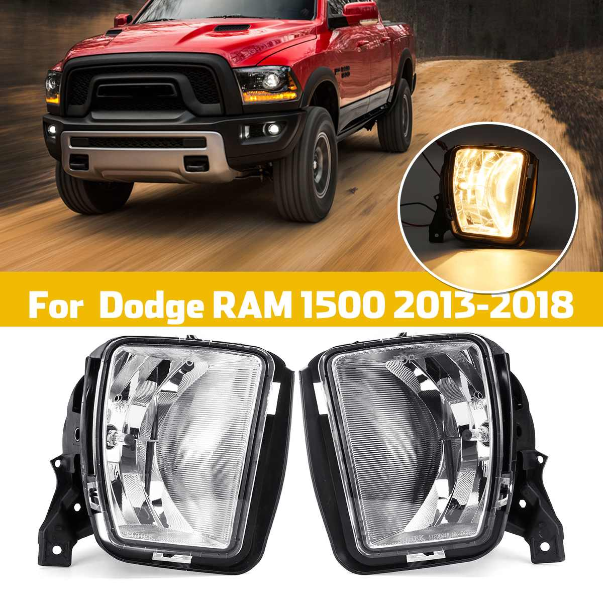 12V 3000K Clear Bumper Fog Halogen Lights For Dodge RAM 1500 2013 2014 2015 2016 2017