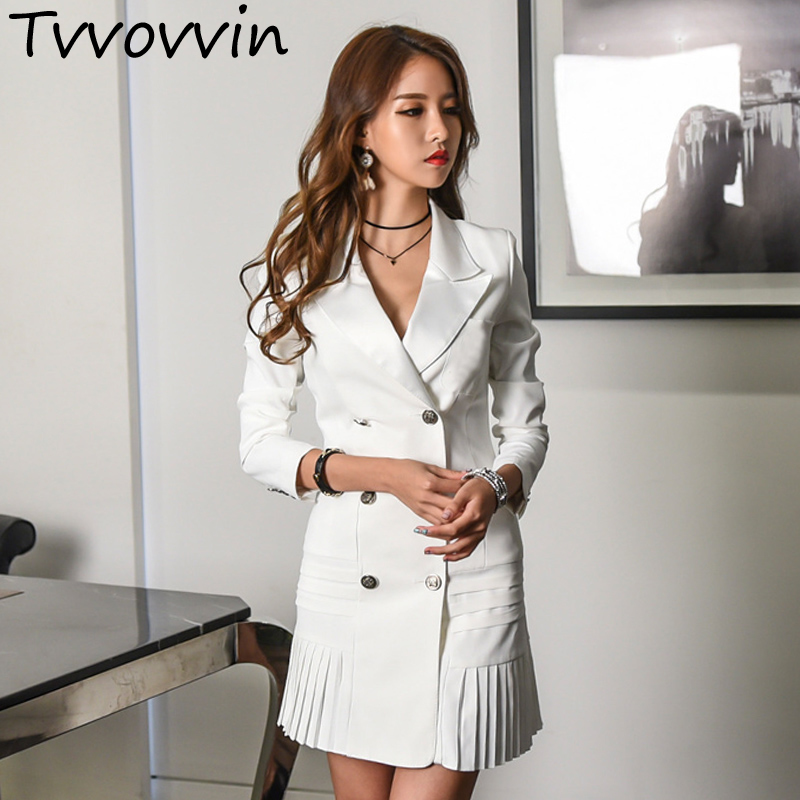 TVVOVVIN 2019 New Spring Women Clothing Turn down Collar Double Breasted Pleated Bottom Jacket R001