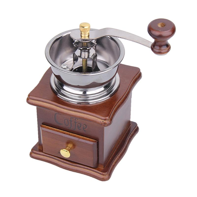 Classical Manual Coffee Grinder Retro Wooden Mini Coffee Mill Metal Large Capacity Wooden Kitchen Machine Kitchen Gadgets