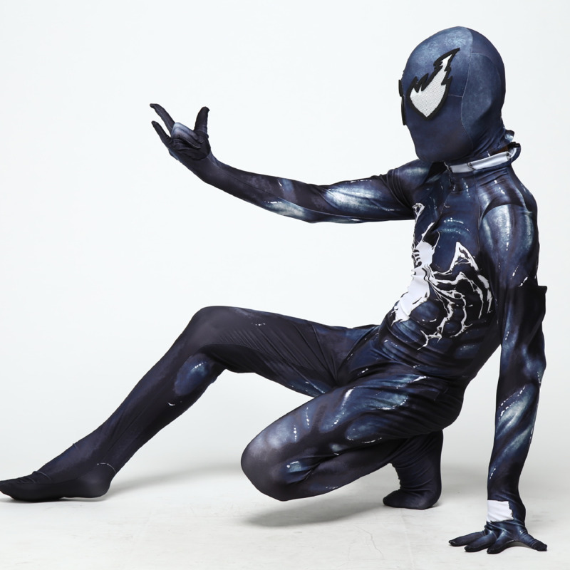 2019 Halloween Costumes For Men Adult Kids boys Venom Symbiote Spiderman Costume Movie Venom Cosplay Marvel Black Zentai Suit