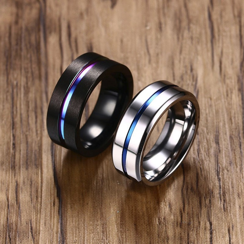 Vnox Black Ring Fraternal-Rings Groove Wedding-Bands Male Jewelry Rainbow Stainless-Steel