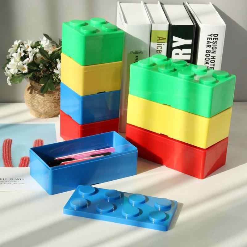 Коробка для хранения конфетных цветов, органайзер, коробка для ювелирных изделий в форме строительного блока, пластиковая коробка для хранения мусора для дома и офиса, контейнер для хранения мусора