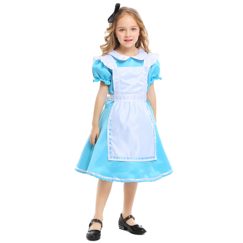 Alice In Wonderland Kids Girls Fancy Dress Lolita Cosplay Halloween Costume For Kids