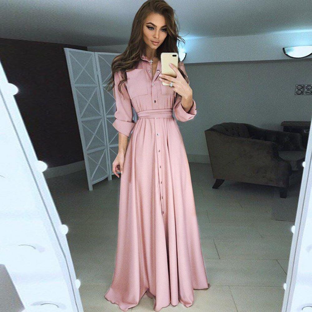 Women Silk Long Dress Black Pink Shirt Tunic Elegant Casual Maxi Dresses Office Ladies Party Pocket Expansion Holiday Dress