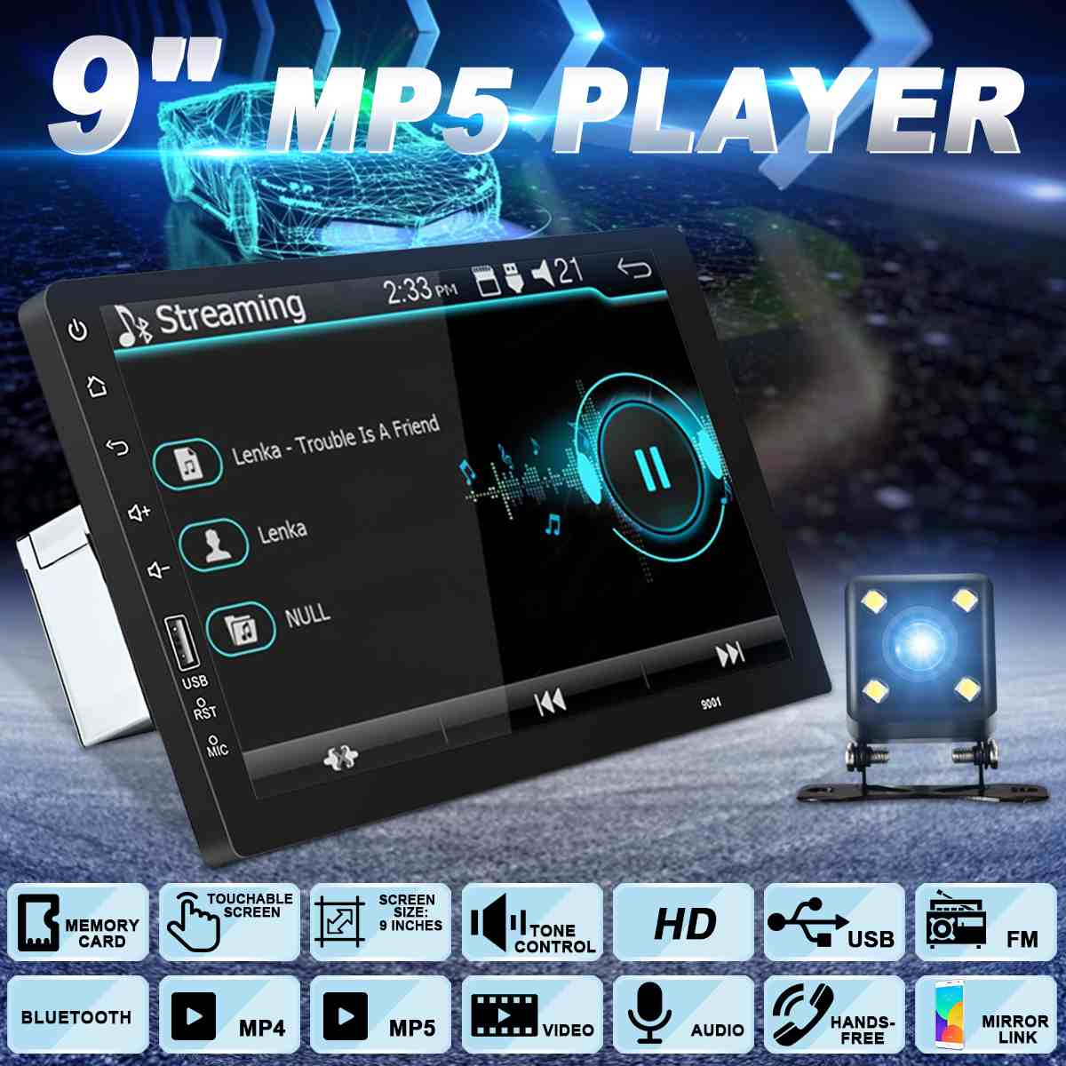 9 Inch 1DIN Universal Car Stereo MP3 MP4 MP5 Player 1080P Radio Indash FM bluetooth Touchable