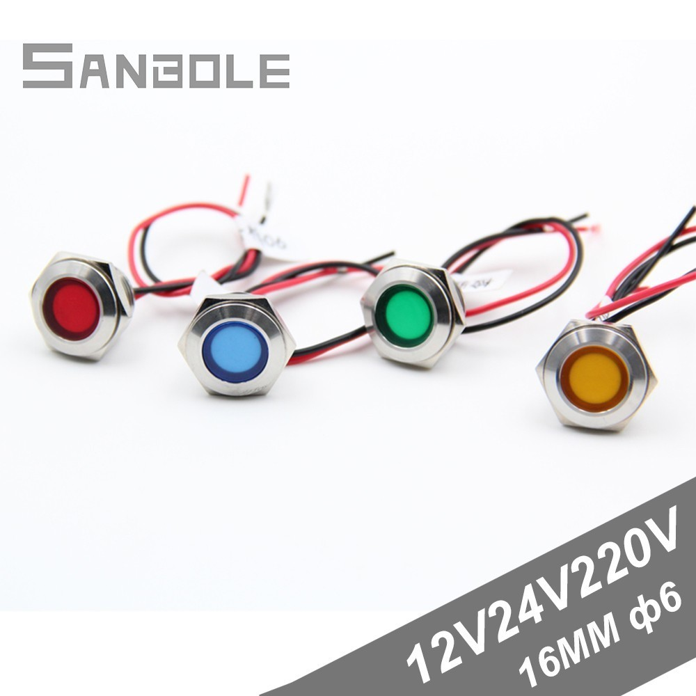 Led Metal Indicator Light With 150mm Wire 16mm Waterproof Signal Lamp 12v24v220v Power Supply Work Lamp