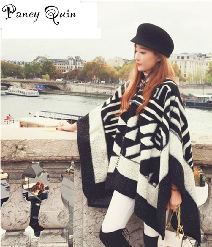 Winter Women Scarf  With Hat Knit Cardigan Buckle Large Power Long Cashmere Thickened Warm Shawls Women Fringe Poncho Shawl