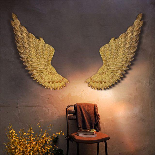 Dekoracja ścienna skrzydła anioła Retro metalowe skrzydła Bar kawa ściana sklepowa dekoracja domu sypialnia wystrój salonu boże narodzenie przemysłu