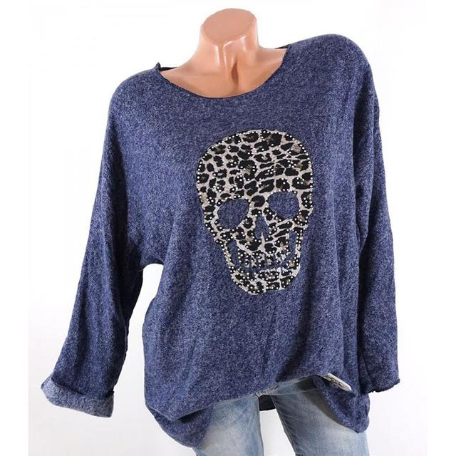 Big Size S-5XL Women'S T-Shirt Long Sleeve Tee Shirts Solid O-Neck Casual Female Skull Print Tops Femme Blusas SJ1324X