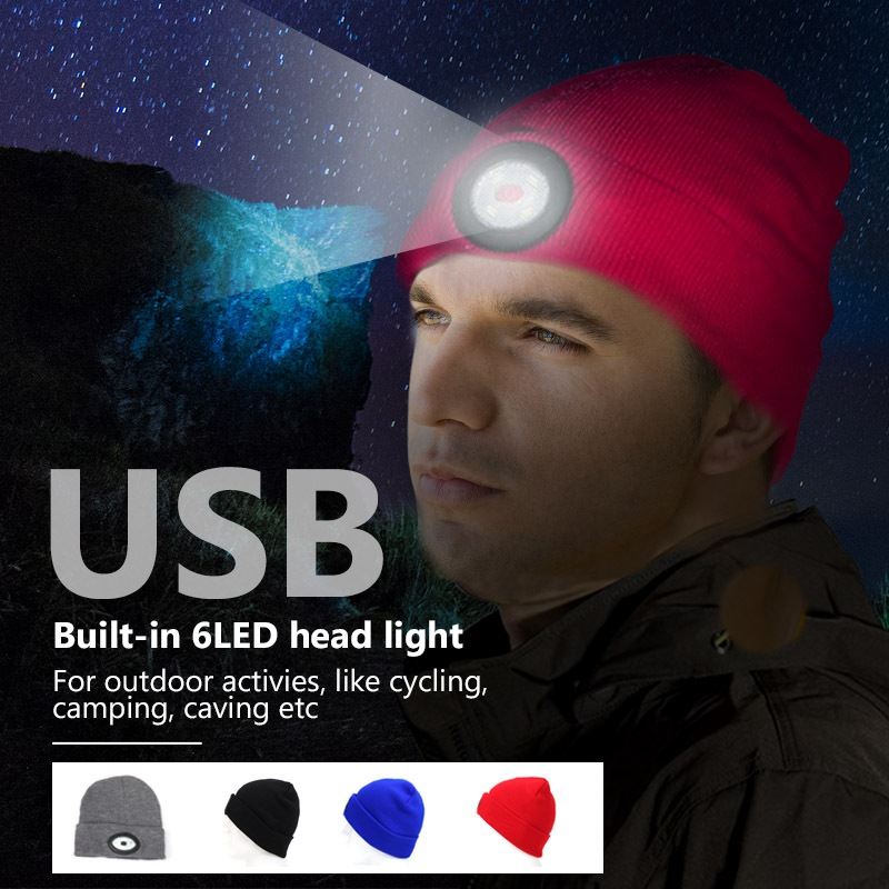 6 LED Headlamp Beanie Cap Rechargeable Lighted Hat With LED Head Light Flashlight For Outdoor Evening Sport Fishing Camping