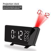 Projection Alarm Clock Digital LED FM Radio Alarm Projection Clock with Temperature Hygrometer Snooze Dual USB Charging Port