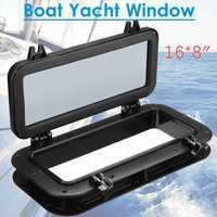 Black Rectangular Boat Ship Yacht Car Replacement Porthole Waterproof Rubber Seal Skylight Cover RV Window Parts 40x20cm