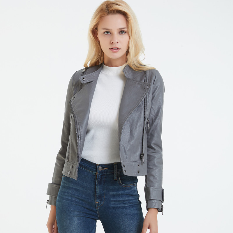 Gray Black Women PU   Leather   Jacket Short Motorcycle Jackets Woman Soft Faux   Leather   Coats Slim Biker Punk Coat Basic Cuir Femme