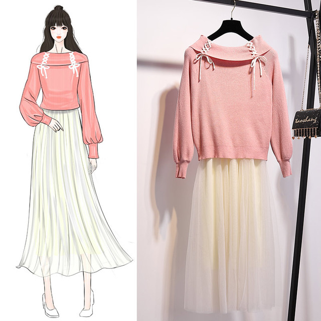 c984304f7e new winter outfit women Korean fashion pullover sweater & gauze long pleated  skirt two pcs clothing set casual sweet suit girl