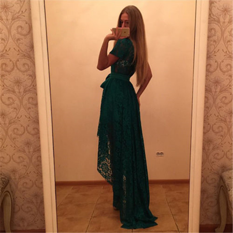 Ladies party dress summer dark green high temperament party dating high waist dress