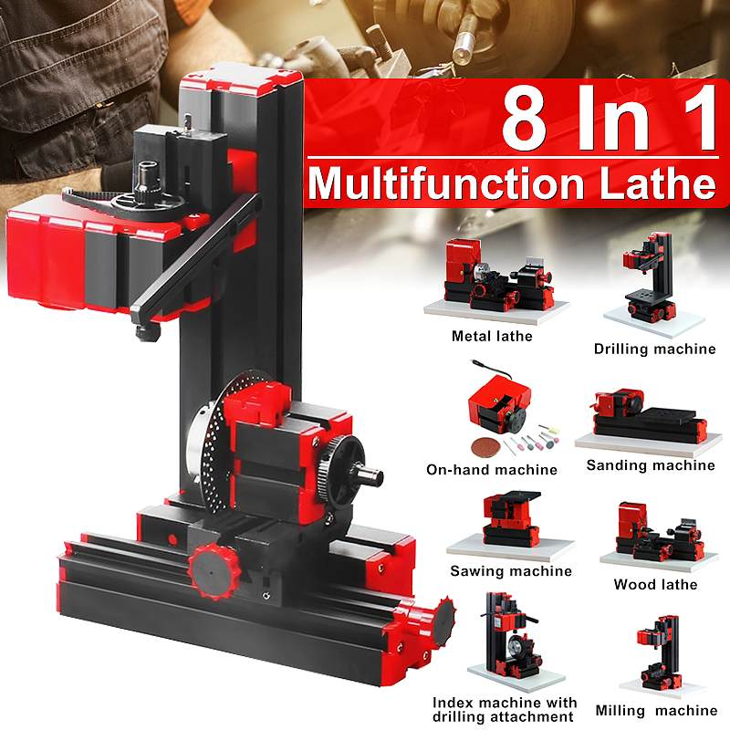 Becornce Mini Lathe Machine Torno Lathe DIY Tools 8 In 1 Motorized Transformer Woodworking Driller Plastic Metal Wood Lathes