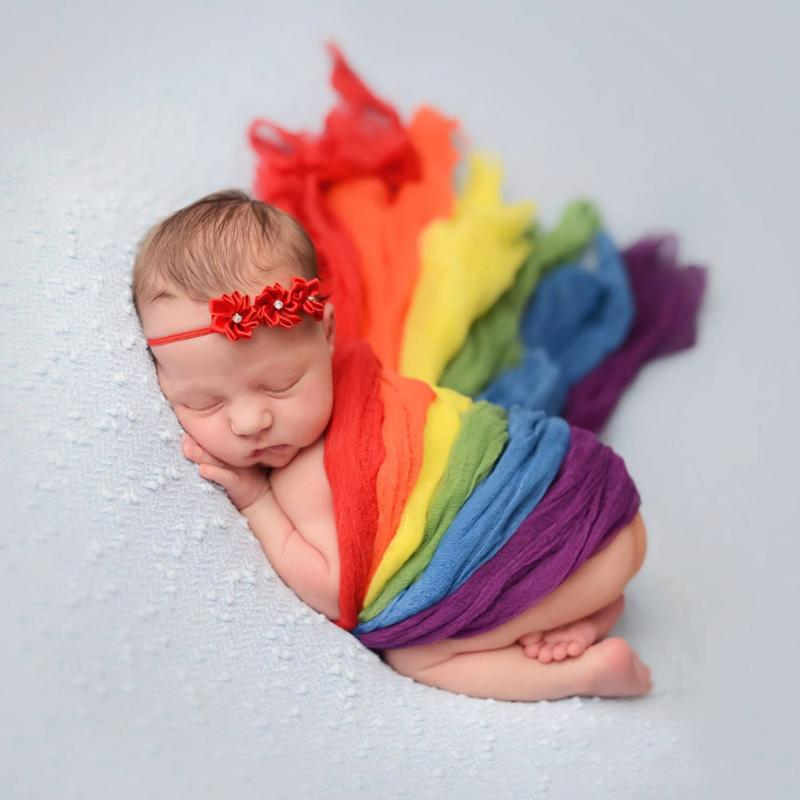 Rainbow Mohair Wrap Newborn Stretch Wrap Photography Props Infant Blanket Soft Photo Props Blanket Swaddling For 0-2M Baby