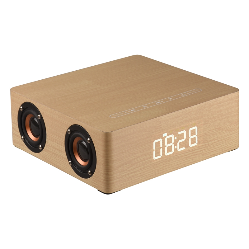 Considerate Wooden Bluetooth Alarm Clock Speaker 3600mah Battery Support Audio Input Tf Card