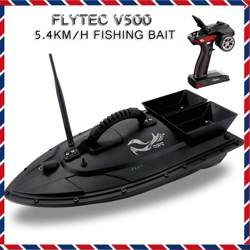 Flytec V500 5.4 km/h appâts de pêche RC bateau 500 M télécommande bateau de pêche bateaux brosse Double moteur extérieur RC bateau pour enfants jouets