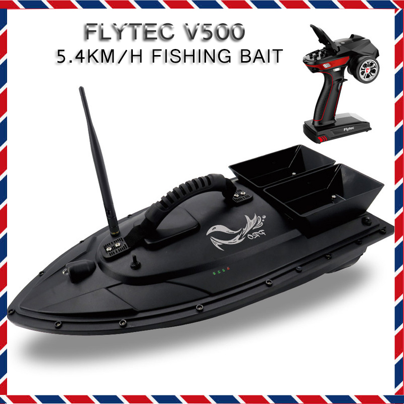 Flytec V500 5.4km/h Fishing Bait RC Boat 500M Remote Control Fishing Ship Boats Brush Double Motor Outdoor RC Boat for Kids Toys