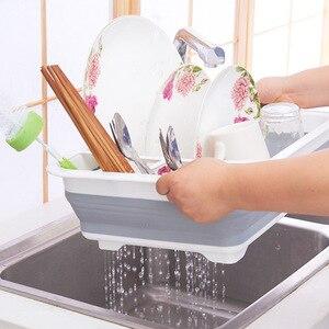 Image 1 - Có thể gập lại Món Ăn Kệ Gầm Bếp Chứa Đồ Giá Đỡ đa năng Dao Kéo Hộp Lưu Trữ Di Động Ốp Món Ăn Điện Đứng Cốc