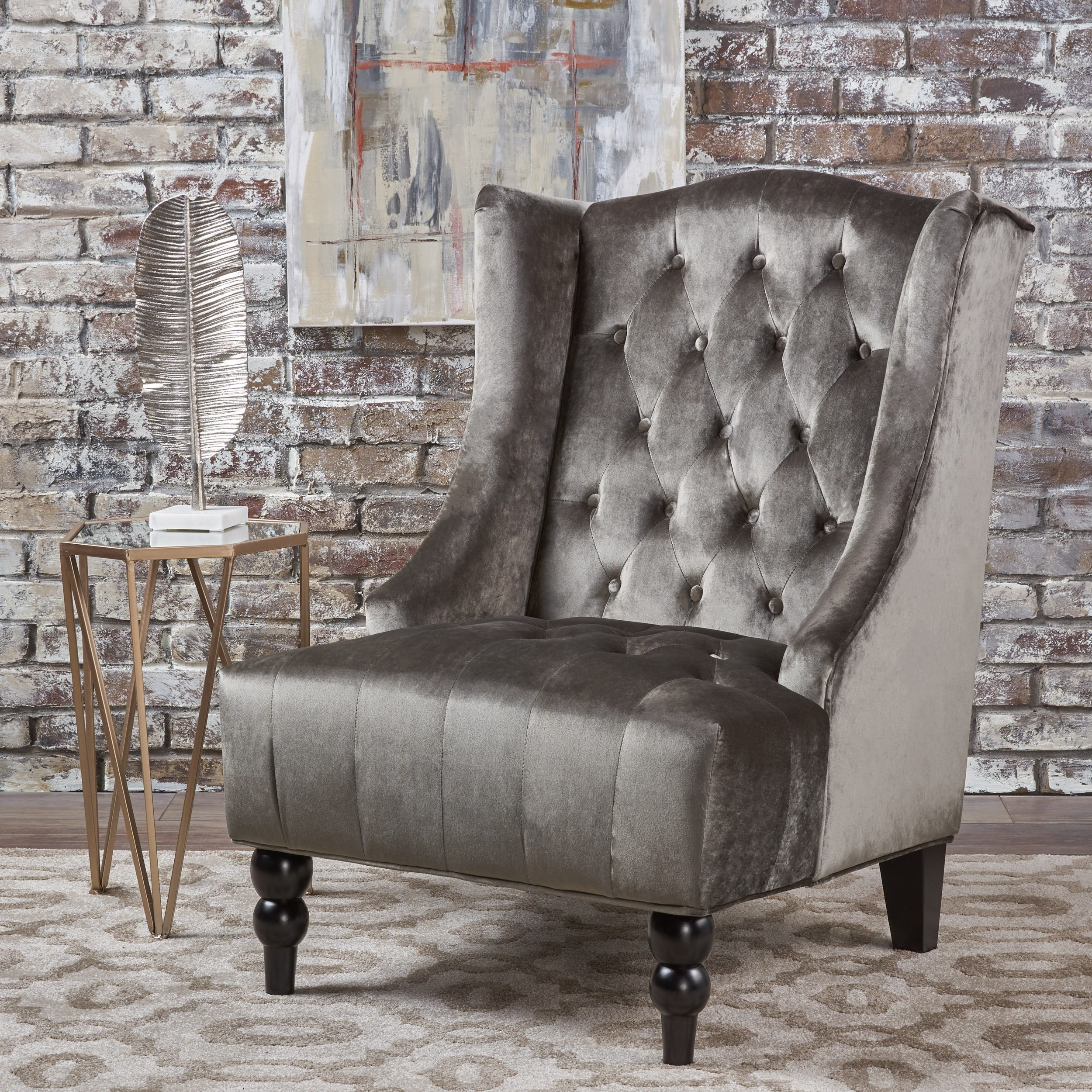 Talisa Winged High Back Tufted New Velvet Club Chair In Living Room