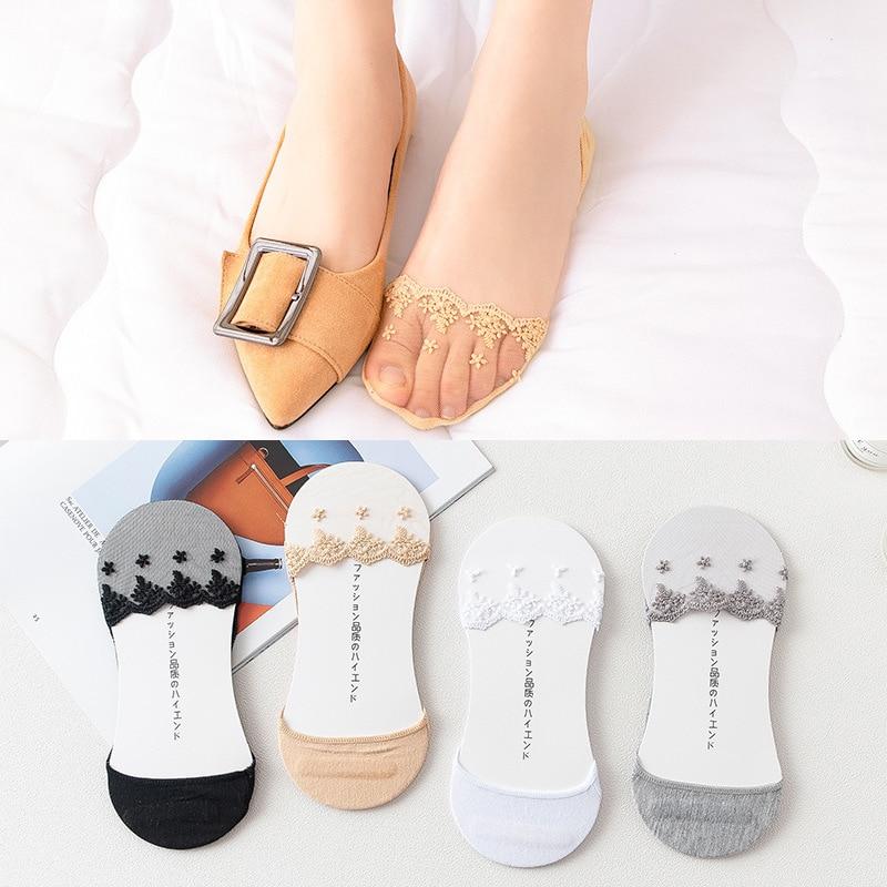 Summer Women Girl Silica Gel Lace Boat Socks Invisible Cotton Sole Non-slip Antiskid Slippers Anti-Slip Sock 1pair=2pcs Ws193
