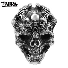 Skull-Ring 925-Sterling-Silver ZABRA Gothic Mens Jewelry Ring-Punk-Rock Adjustable Halloween