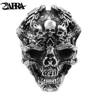 ZABRA Real 925 Sterling Silver Skull Ring Men Adjustable Dragon Ring Punk Rock Many Skeletons Mens Gothic Halloween Jewelry