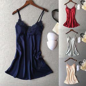 cf75f122d9 Hirigin Women s Satin Silk Sleepwear Lace Night Dress Slips